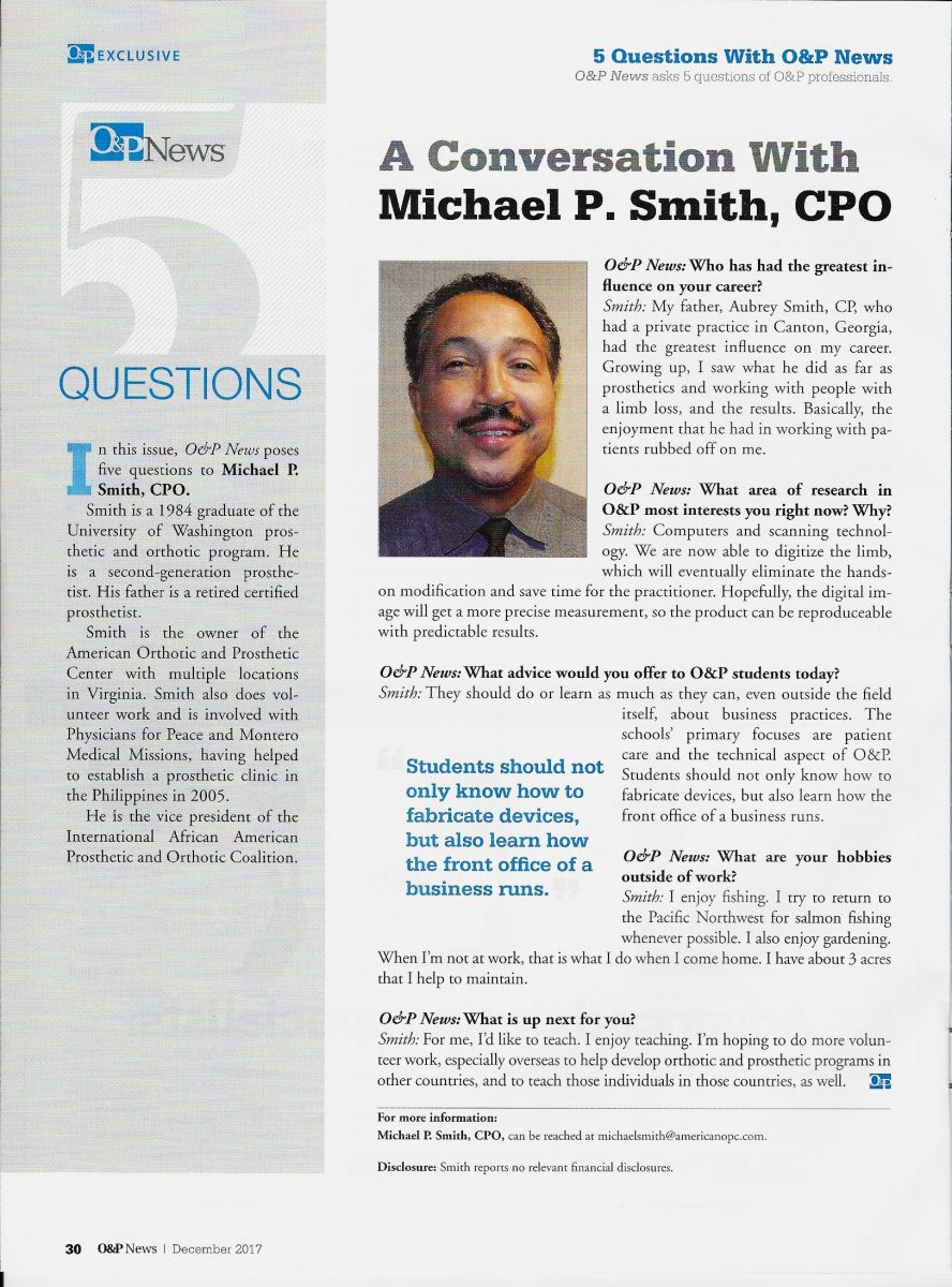 O&P News Magazine Interviews Michael Smith,CPO