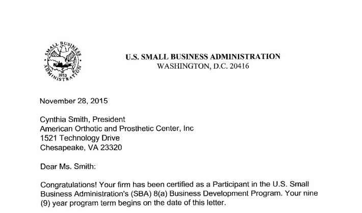 U.S. Small Business Administration 8(a) Business Development Program
